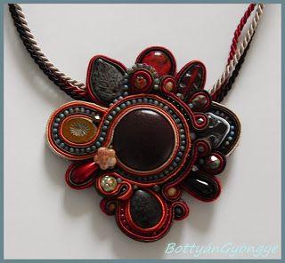 Különleges sujtás aszimmetrikus sujtás nyaklánc / Special soutache asymmetrical necklace