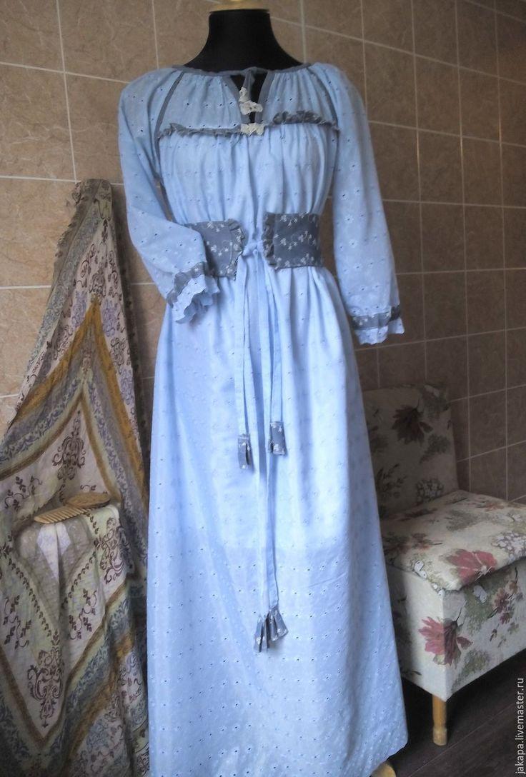 Купить Платье- рубаха из хлопка Ладушка - голубой, цветочный, платье, платье-рубаха, этническое платье