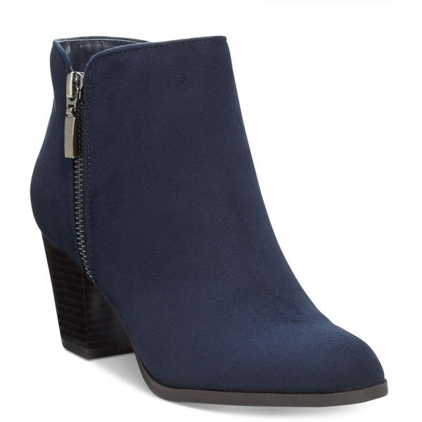 Style& Co. Jamila Zip Booties, (£54) ❤ liked on Polyvore featuring shoes, boots, ankle booties, navy, short boots, zipper boots, zip booties, style&co boots and navy blue boots