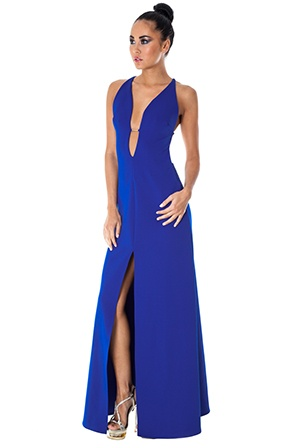 Rihanna style blue dress