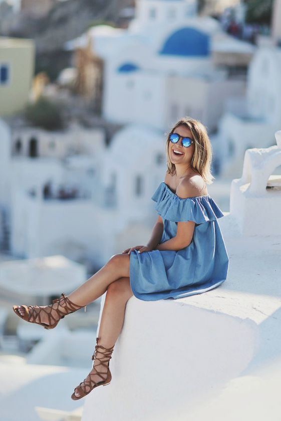 spring / summer - street style - street chic style - summer outfits - beach outfits - getaway outfits - casual outfits - comfy outfits - easy outfits - off shoulder denim dress + mirror sunglasses + brown gladiator sandals
