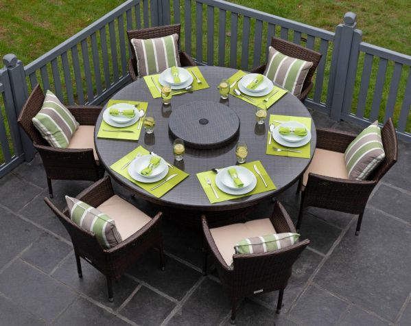 Cambridge 6 Rattan Garden Chairs And Large Round Dining Table Set