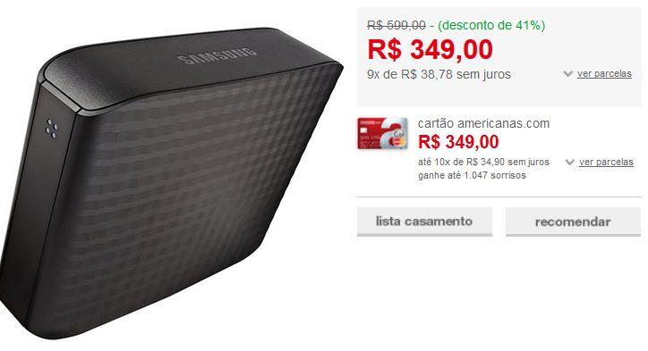 HD Externo Samsung 2TB USB 3.0 D3 Desktop HX-D201TDB/G << R$ 34900 em 9 vezes >>