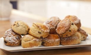 Buttermilk gives a lovely, light texture to these scones. Omit the sultanas if you prefer plain scones.