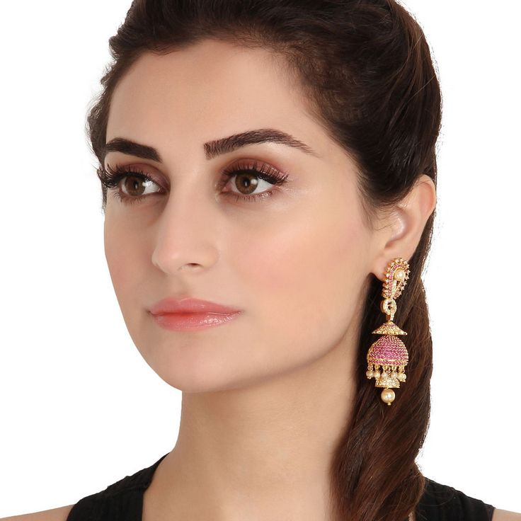 Zircon Earring 53986 #Kushals #Jewellery #Fashion #Indian #Jewellery #Earrings #Designer  #hangings  #modern #unique