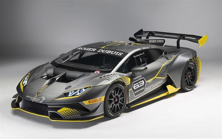 Télécharger fonds d'écran Lamborghini Huracan, en 2018, le Super Trophée de la Evo, la course de voitures, supercars, le réglage, les Huracan, Lamborghini