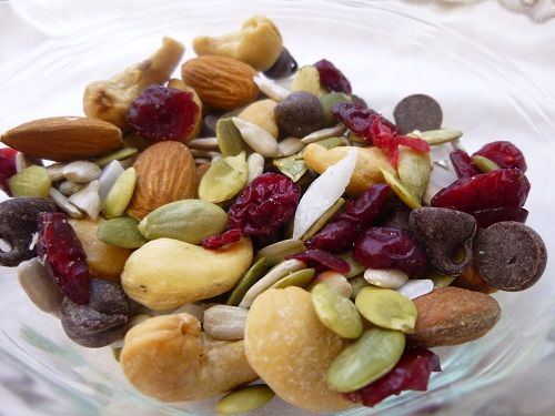 Homemade high protein sweet salty trail mix. A very simple recipe for trail mix that's high in protein with the perfect balance of sweet and salty.