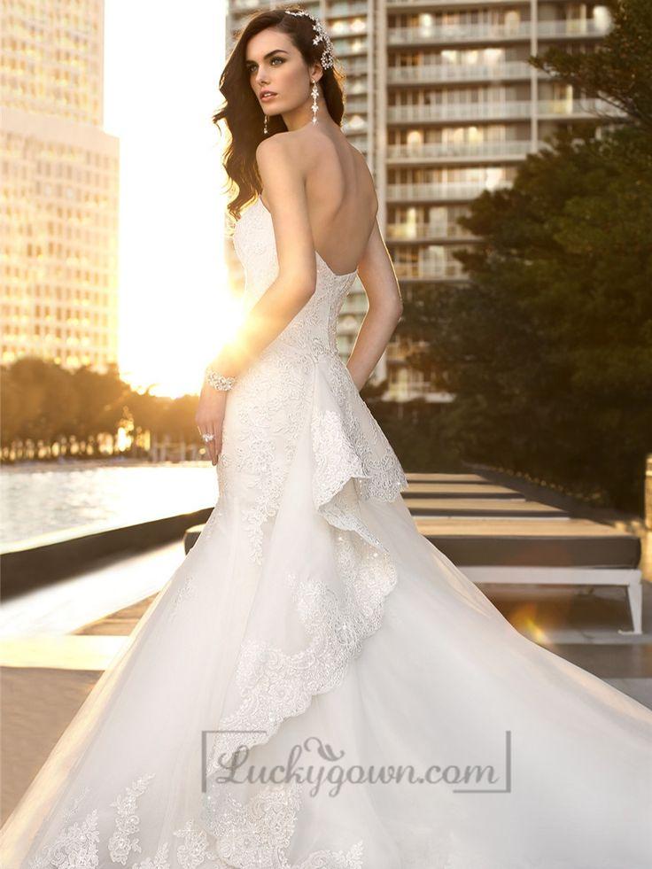 Fashion Trumpet Mermaid Sweetheart Beaded Lace Wedding Dresses