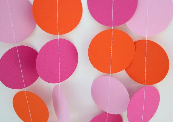 Birthday Party Decorations . Paper Garland Party Decoration, Hot Pink, Orange and Light Pink.  10 Feet Long