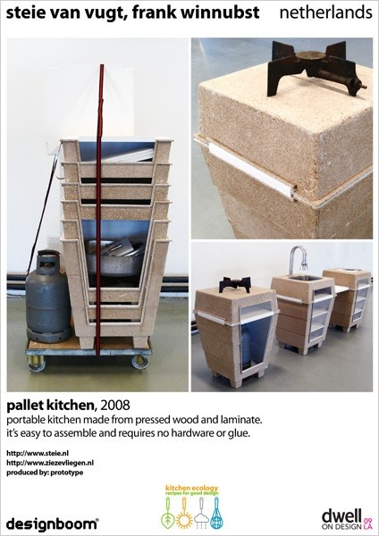 portable kitchen made from pressed wood and laminate. its easy to assemble and requires no hardware or glue.