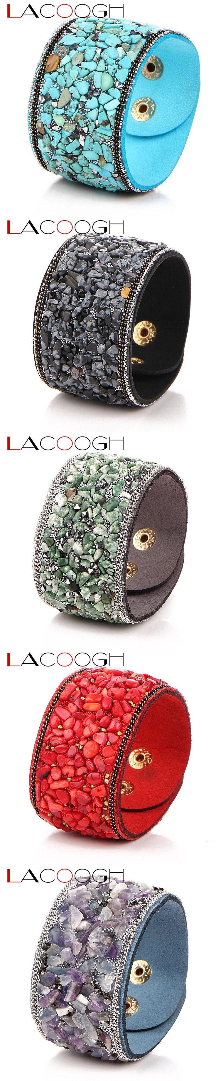 Lacoogh New Pave Gravel Stone  Wristband Bracelet Bangles Handmade Wide Leather Cuff Bracelets For Women Pulseras F6113