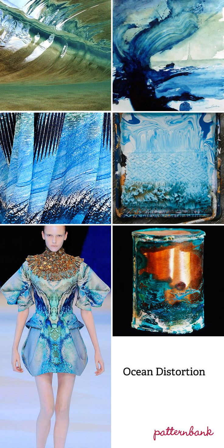 Spring/Summer 2013-Ocean Distortion-Rippled Textures – Painterly Wave Forms – Aquas, Strong Turquoises And Bottle Greens – Reflected Sunlight Through The Sea – Abstract Wave And Ripple Statements – Unrecognisable Detail – Ocean Movement In Pattern – Smooth Flowing Patterns