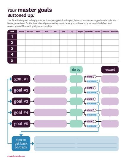 use this free printable master goals form to help organize