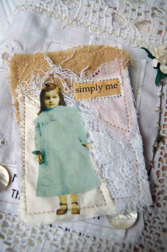 Fabric Collage ACEO Vintage Child by WeeArtThings on Etsy, £4.50