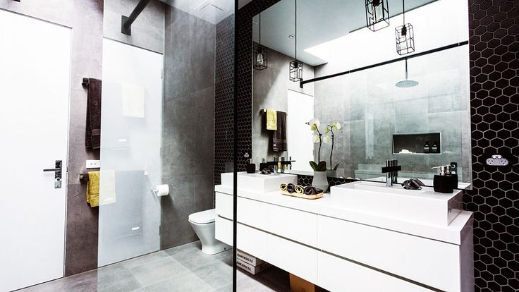 Like the hexagon tiles and grey square tiles (Beaumont tiles).  The Block Glasshouse | 9jumpin