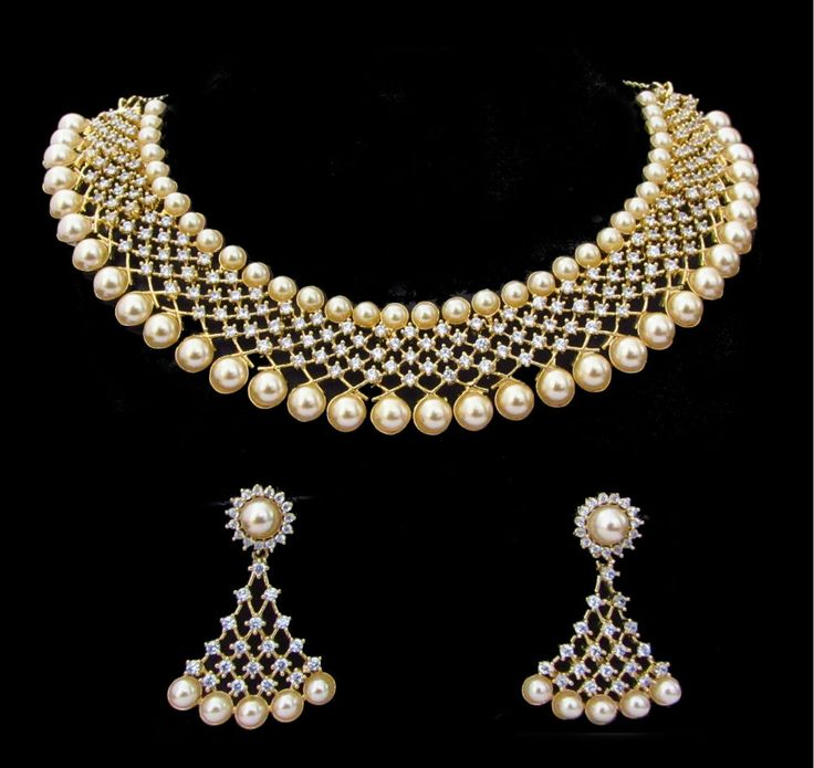 Indian CZ AD Necklace Bridal Pearl Bollywood Fashion Wedding Swam Jewelry Set174 #Unbranded