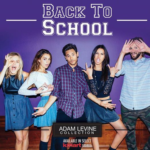 """Adam Levine is the singer of Maroon 5, the group that takes up about 65% of all radio airtime. His released a clothing line and, to promote its """"Back to School"""" collection, this ad was released. As you can see, it is all about One-Eye Illuminati signs being sold to young students whose parents shop at K-Mart."""