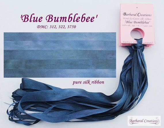 Hand dyed 13 mm wide pure silk ribbon  'Blue by BarbaralCreations