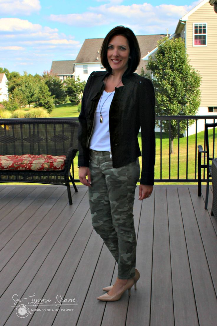 Here's a sassy outfit for Fall! Spice up your camos with a stylish jacket and some cute accessories for a fun night out. Click through for more ideas... Jo-Lynne Shane