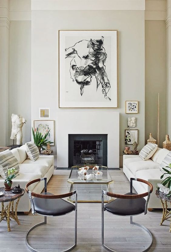 A neutral living room with modern and classic touches. Interior design inspiration.