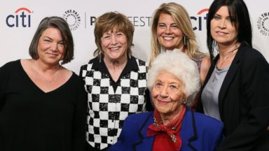 Facts of Life crew Reunites: Mindy Cohn, Geri Jewell, Lisa Whelchel, Charlotte Rae and Nancy McKeon attend the 2014 PaleyFestFall on Sept. 15, 2014, in Beverly Hills, Calif.