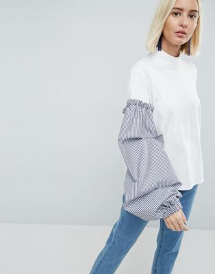 ASOS WHITE Jersey Top With Stripe Sleeves