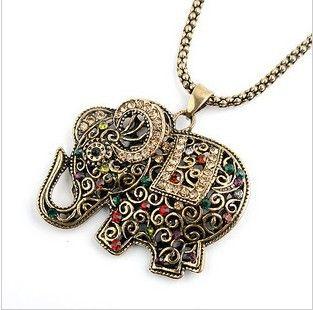 2016 Della Boemia di Cristallo Rosso Elephant Pendenti Collane per le Donne Normativa Vintage Maxi Collana Del Choker Femme Catena Lunga Del Maglione