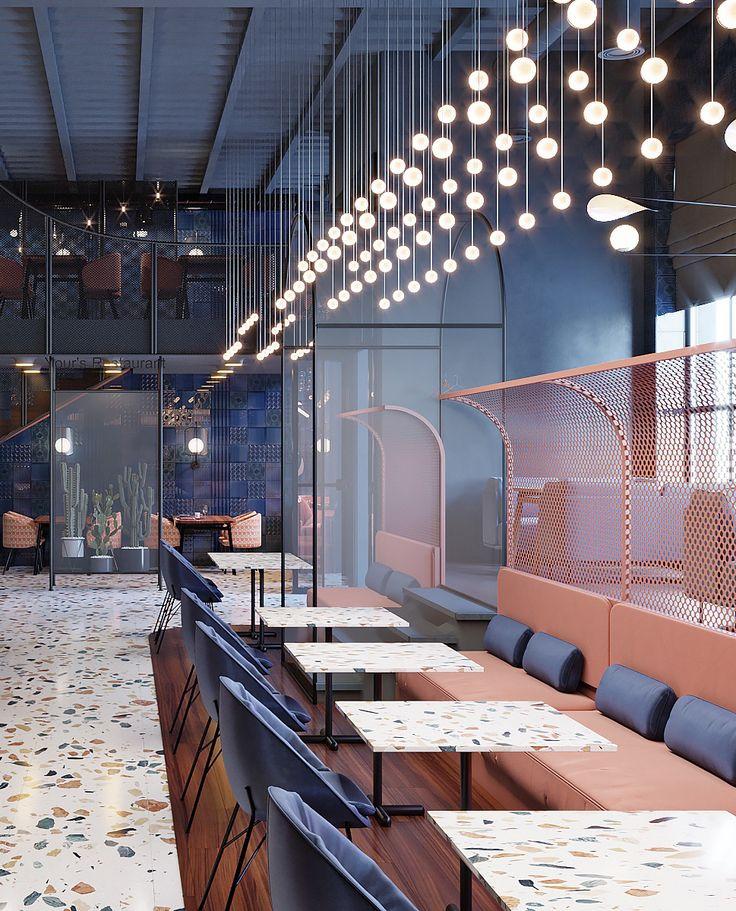 ZA-ZA uses funky terrazzo surfaces in interior design for restaurant in Kiev