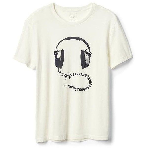 Gap Men Headphone Graphic Crewneck Tee ($30) ❤ liked on Polyvore featuring men's fashion, men's clothing, men's shirts, men's t-shirts, new off white, tall, mens t shirts, gap mens t shirts, mens graphic t shirts and gap mens shirts