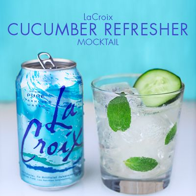 Skinny Cucumber Refresher Mocktail...almost calorie-free! No artificial sweeteners. Simple ingredients using LaCroix. #mocktail #skinny #client