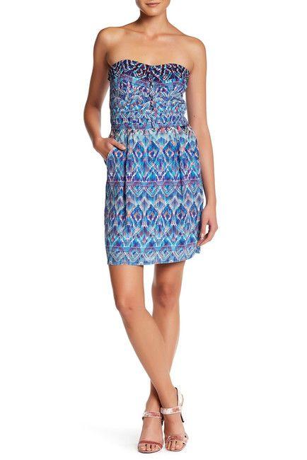 Image of CHARLIE JADE Print Strapless Silk Mini Dress