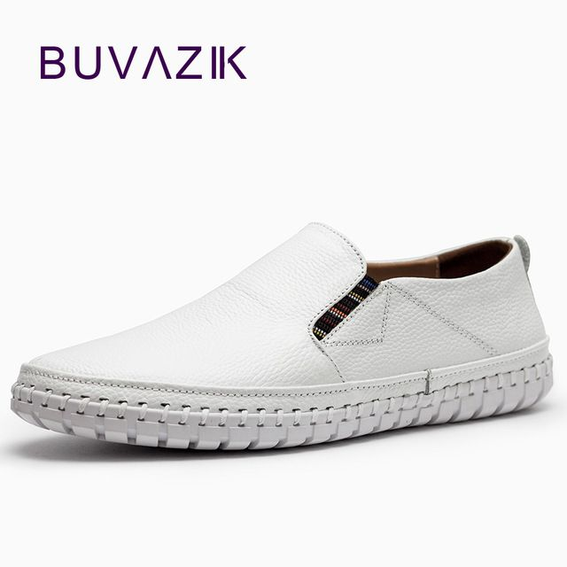 Check current price  First layer Cowhide casual shoes men white bigest size 47 Comfortable and breathable Genuine Leather loafers New fashion 2017 just only $36.37 with free shipping worldwide  #menshoes Plese click on picture to see our special price for you