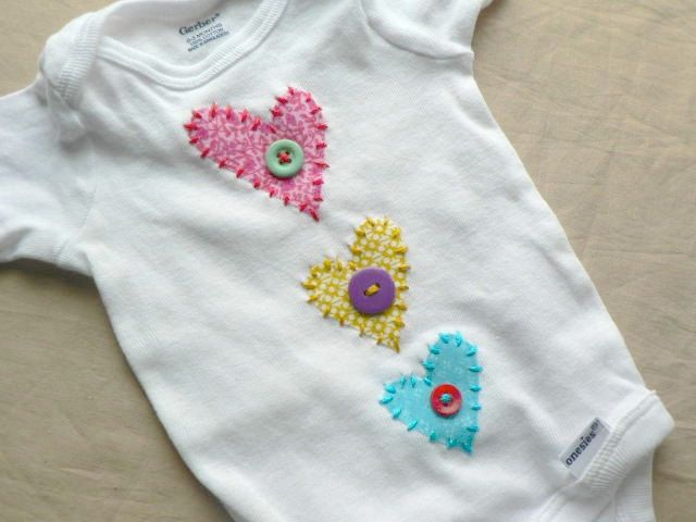 Heart Applique Onesie or Shirt You Pick Size and Colors