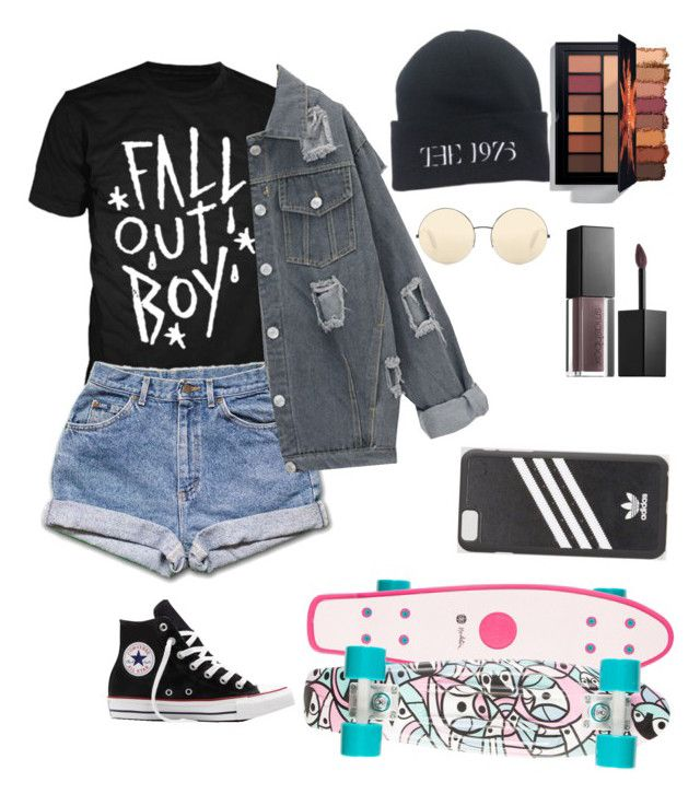 Pop punk by amishahmonola on Polyvore featuring polyvore, moda, style, Converse, adidas, Victoria Beckham, Smashbox, fashion and clothing
