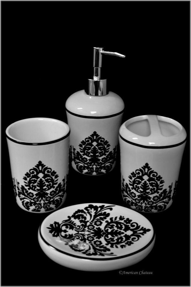 4 Piece Black U0026 White Ceramic Damask Bathroom Accessory Set