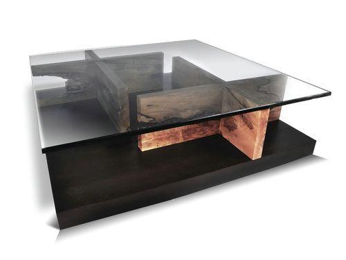 Custom Glass Coffee Table Wood