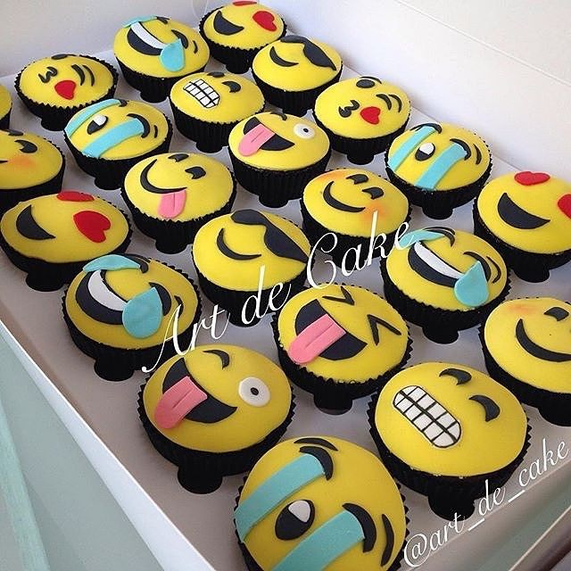 Chocolate Cupcakes With Emojis Themed Fondant Art Decorative Sugar Cookies TAG A Cake Lover