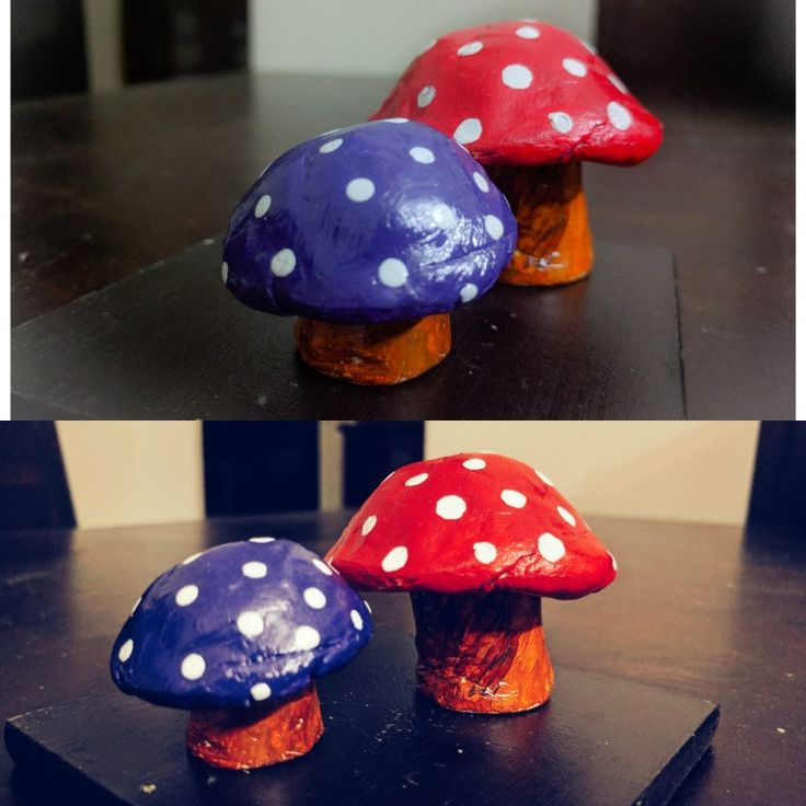 Mushrooms made using air dry clay