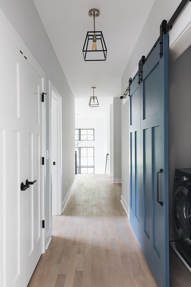 Blue Barn Door Laundry Room With Blue Grey Barn Door Barn Door Painted In Blue Barn Door Barndoor Blueb Interior Barn Doors Laundry Room Doors Doors Interior