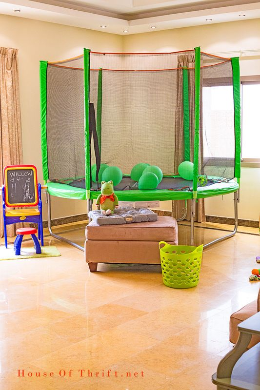 Playroom Ideas | Indoor Trampoline | When it's too hot or cold kids can play inside, it's great for movie watching too! |  House Of Thrift