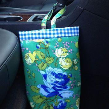 Car Trash Bag - AMY BUTLER Laminated Cotton Sketchbook Roses Lined With Royal Blue Gingham Oilcloth