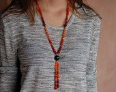 Unique Extra Long Carnelian and Amethyst Necklace, Natural Carnelian, Large Amethyst, Silver Beads from India