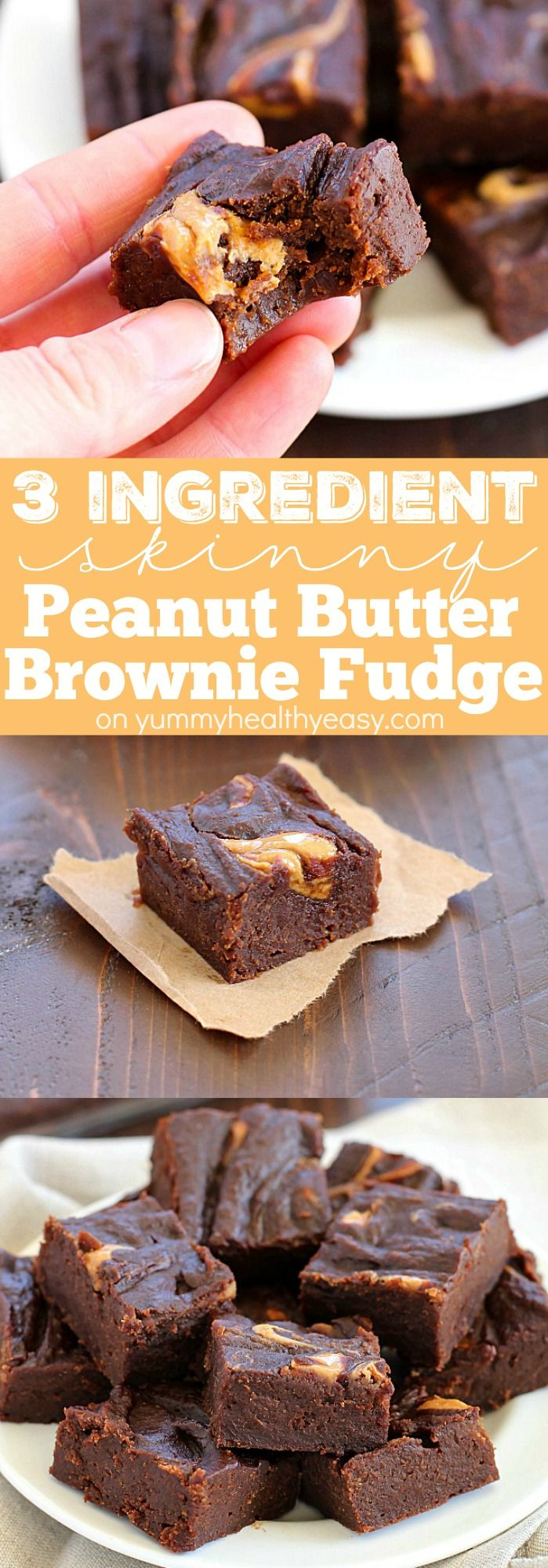 If you're looking for a chocolate fix but don't want all the calories, you have to try this 3 Ingredient Skinny Peanut Butter Brownie Fudge! Only 42 calories for a chunk of fudgy, chocolate marbled, peanut butter deliciousness!