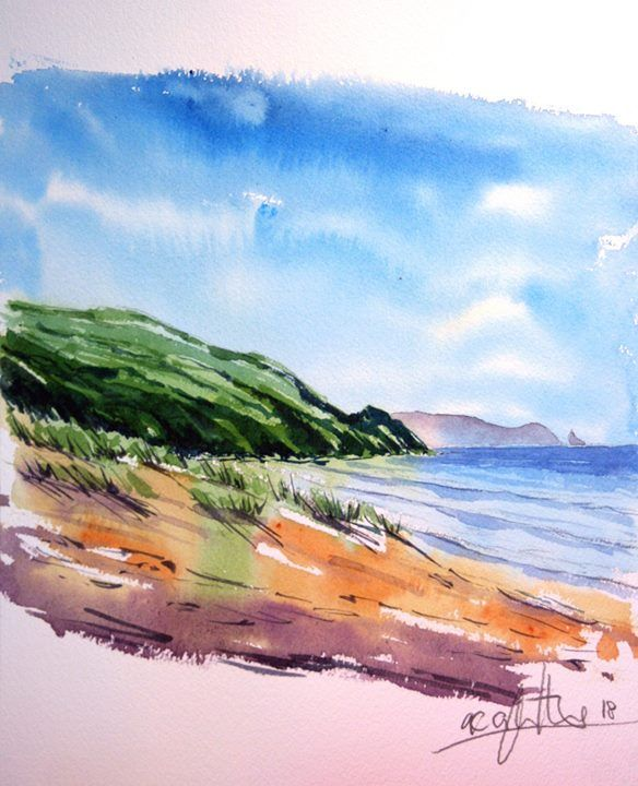 Painting Of Te Arai Beach Done On Arches 300gsm Watercolour Paper