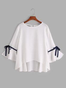 Blusa asimétrica de mangas acampanadas con cordones de lazo - blanco