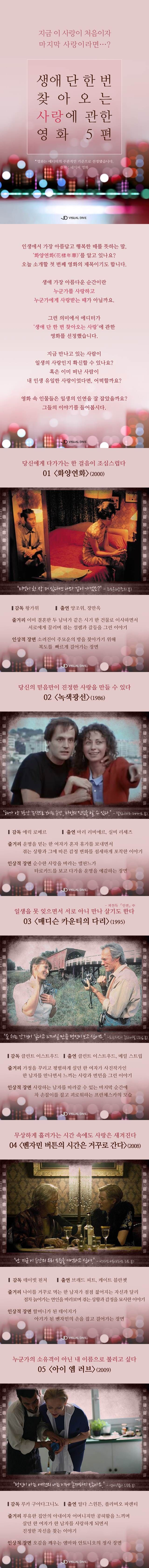 생애 단 한 번뿐인 사랑에 관한 영화 5편 [카드뉴스] #movie / #cardnews ⓒ 비주얼다이브 무단 복사·전재·재배포 금지