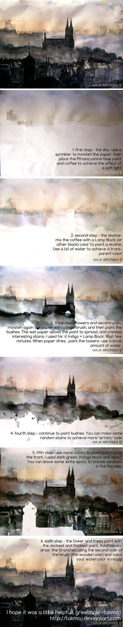Watercolor tutorial by *takmaj on deviantART