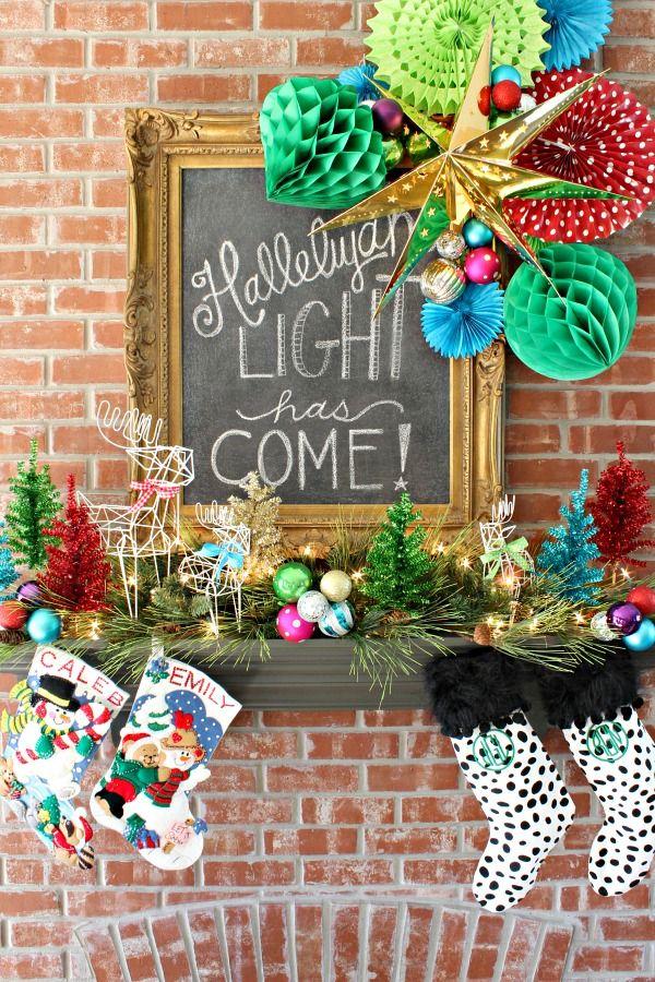 Jewel Tone Christmas Mantel || Metallic Tinsel Christmas Trees || Wire Deer || Sequin Stockings || Christmas Chalkboard