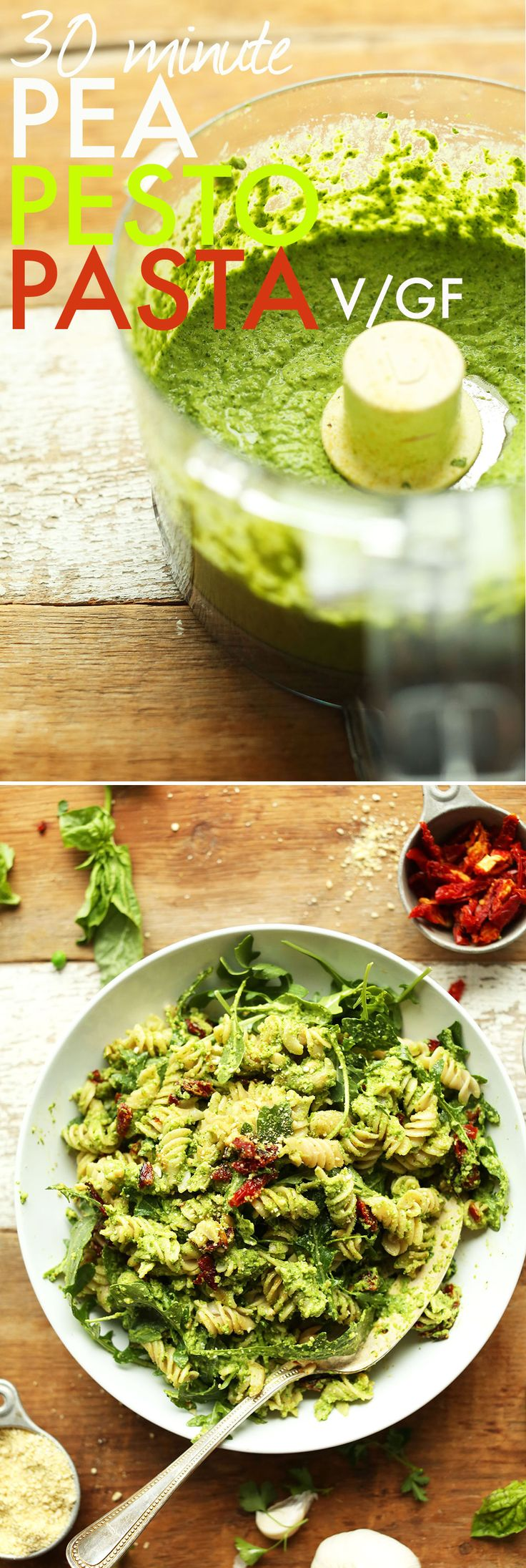Amazing, 30-minute pea pesto pasta that's vegan, gluten free, and tossed with arugula and sun-dried tomatoes. A hearty, flavorful plant-based meal or side.