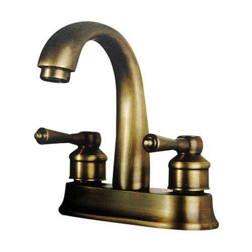 Lightinthebox® Deck Mount Contemporary Two Handles Centerset Bathroom Vessel Sink Faucet Antique Brass Lavatory Curve Tall Spout Mixer Taps with Plate Unique Designer Discount Faucets